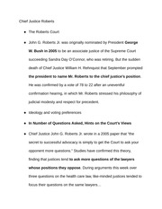 Notes on Chief Justice Roberts