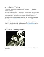 Psyc. 2314 Signature Assignment%28Fall 2016%29-Harlow Experiment-Attachment Theory (1)