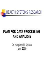 Lesson 11 Plan fo data processing and analysis 2009