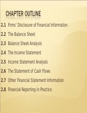 FIN 611 Chapter 2 Financial Reporting Lecture Notes