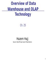 9-Ch25_Overview_of_Data_Warehouse_and_OLAP_Tech Spring 2014