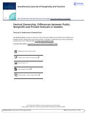 Week 4 Reading - Festival Ownership Differences between Public Nonprofit and Private Festivals in Sw