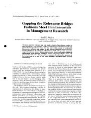 Weick, K. Gapping the relevance bridge; Fashions meet fundamentals in Management Research