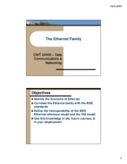 Lecture05 - The Ethernet Family