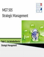 Topic 1 Introduction to Strategic Management