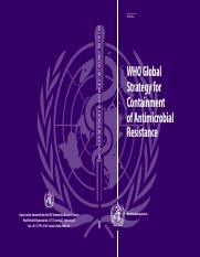 WHO Strategy for Antimicrobial Resistence