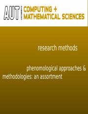 Phenomological methodologies#7(1)