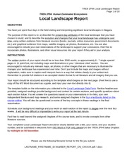 Local Landscape Report Template Homework For TREN 2P94