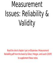 PPT Meaurement Issues Validity Reliability BB NOTES.pptx