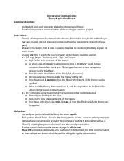 Interpersonal Communication - Theory Application Assignment Instructions