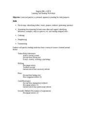 Reading Workshops Outline