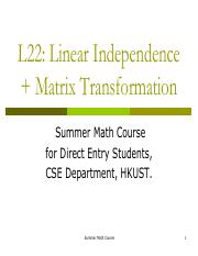23.Linear Indeoendence and Matrix Transformation