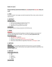 Rubric for grading lab 4