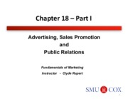 Chapter 18- Advertising, Sales Promotion and Public Relations Pt. 1