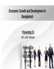Economic Growth and Development in Bangladesh
