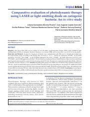 Comparative evaluation of photodynamic therapy using LASER or light emitting diode on cariogenic bac