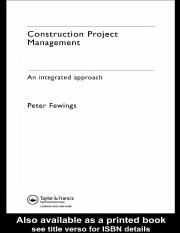 Construction Project Management An integrated approach by Peter Fewings - civilenggforall