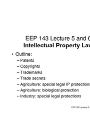 EEP143 IP Law Lectures 5 and 6 revised 070922