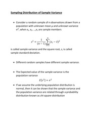 Sampling Distribution of Sample Variance point and interval estimate