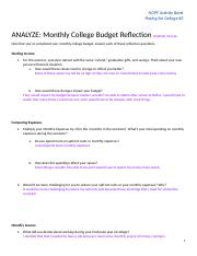 Monthly College Budget Reflection (#2)