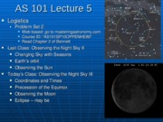 AS101 Lecture 5