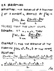 Derivative of a Function