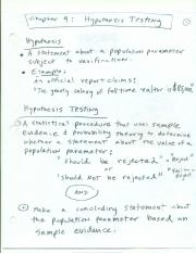 6 Step Hypothesis Testing Notes