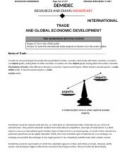 International Trade and Global Econimic Development