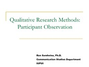 Qualitative Research Methods Participant Observation
