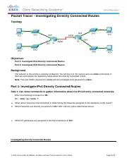 1.3.2.5 Packet Tracer - Investigating Directly Connected Routes Instructions