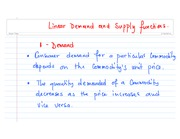 Linear Demand and Supply functions1