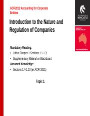 ACFI 2012 S2 2017 Topic 1 Introduction to the Nature and Regulation of Companies (1).pptx