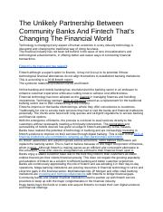 The Unlikely Partnership Between Community Banks And Fintech.docx