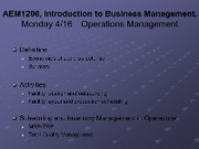 Lecture Monday 225 - Friday 31 - Operations Management