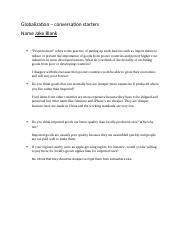 Globalization - conversation starters questions jake blank.docx
