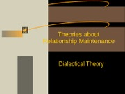 Chapter 12 Relational Dialectics
