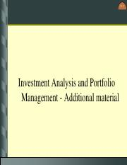 Investment Analysis and Portfolio Management - Additional Material