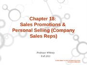 Ch. 18 Sales Promotions and Personal Selling Student Version