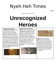 Unrecognized heroes