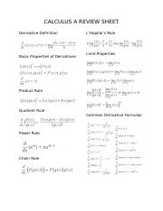 CALCULUS REVIEW SHEET 1