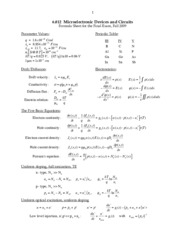 Microelectronic Devices and Circuits formula sheet study guide