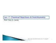 Lecture 7  Chemical Reactions & Stoichiometry