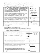 Synthetic Substitution , Synthetic Division  Notes and Examples