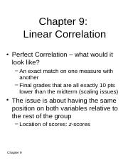 Chapter 9 - Linear Correlation
