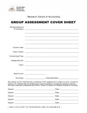 Group Assignment Cover Sheet