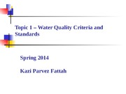 Topic 1 - Water Quality Criteria and Standards