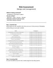 Risk assessment - Design and management (1).docx