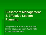 Classroom Management & Effective Lesson Planning