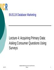 Lecture 4 Survey Design for Primary Data BB