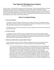 Ten Tips for Writing Cover Letters